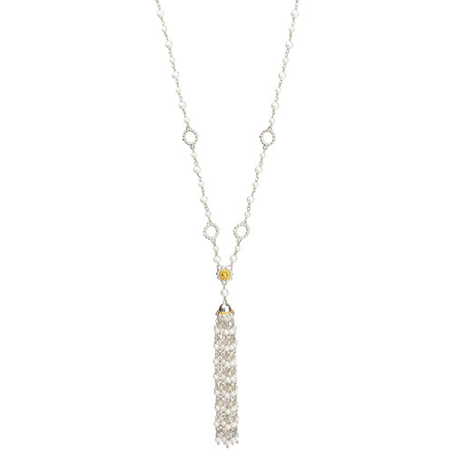 Sterling Silver and Gold Plate Faux Pearl Tassel Necklace