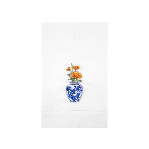 Rose and Poppy Delft Vase Guest Towels | The Shops at Colonial Williamsburg