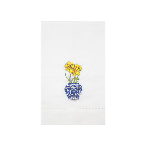 Iris and Daffodils Delft Vase Guest Towels | The Shops at Colonial Williamsburg