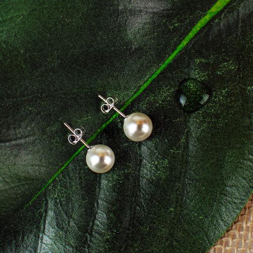 White Freshwater Pearl Post Earrings