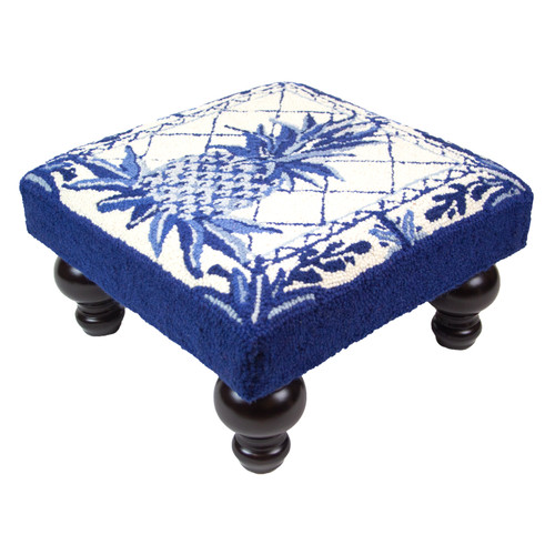 Blue and White Pineapple Footstool