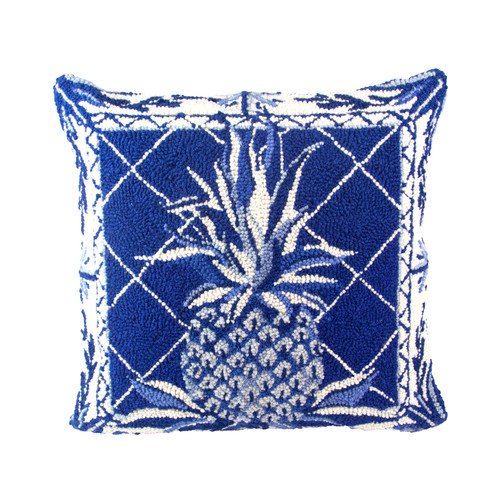 Blue and White Pineapple  Large Hooked Pillow
