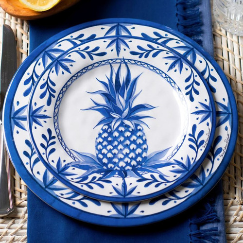 Blue Pineapple Bamboo Dinner Plate
