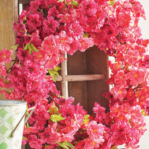 Red Cherry Blossom Wreath