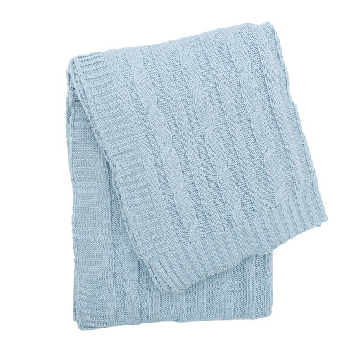 Spa Blue Cable Knit Throw