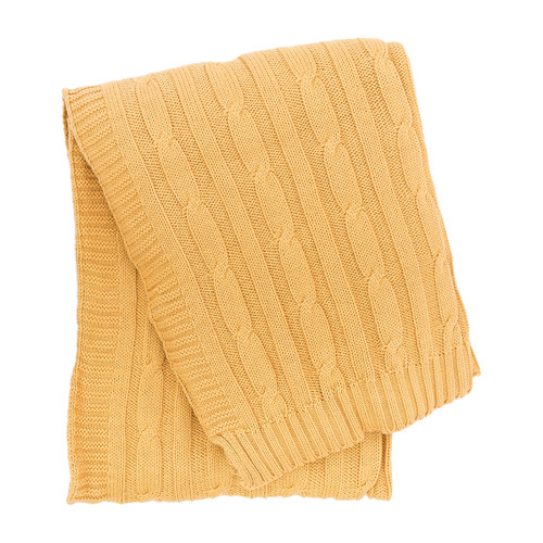 Camel Cable Knit Throw