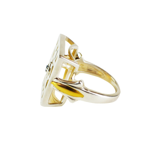 Lattice Spinel Gold Plate and Sterling Silver Ring - side view
