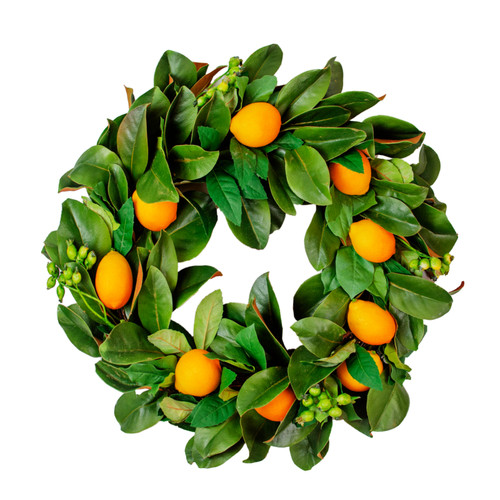 Magnolia, Lemon, and Berry Wreath