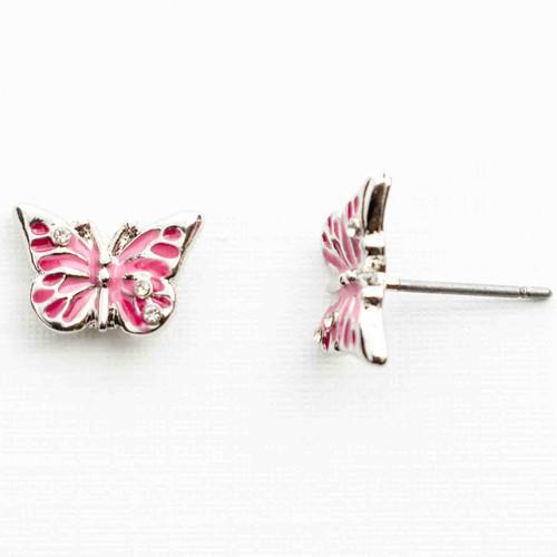 Pink Enamel Butterfly Earrings