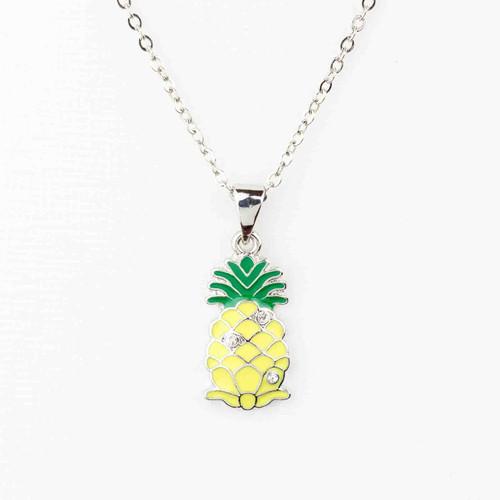 Yellow Enamel Pineapple Necklace