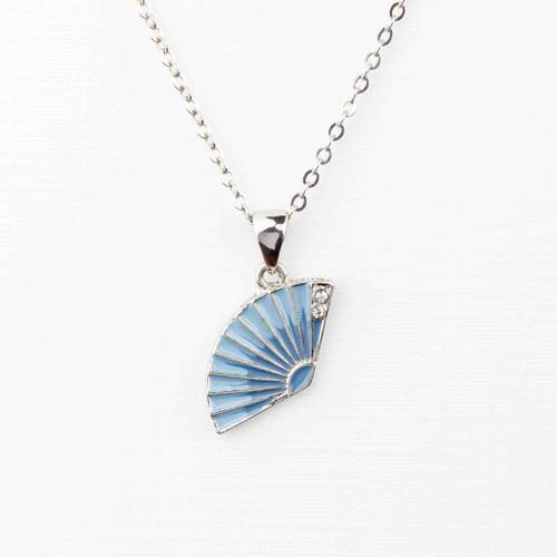 Blue Enamel Fan Necklace