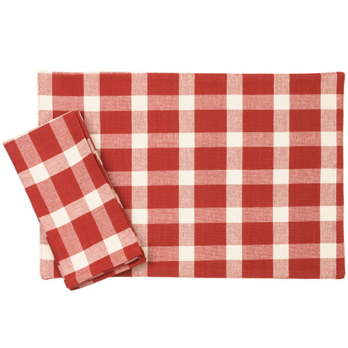 Tavern Check Placemats & Napkins - Red | The Shops at Colonial Williamsburg