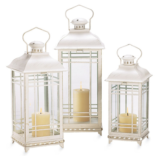 Cream Candle Lanterns, Set/3