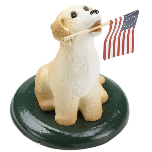 Byers' Choice Dog with Flag