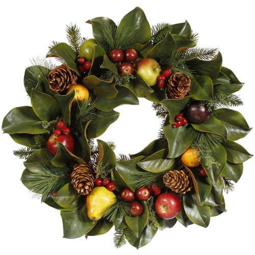Magnolia, Pinecone, & Fruit Wreath