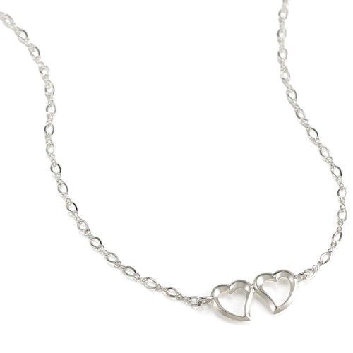Witches Heart Necklace with Two Hearts