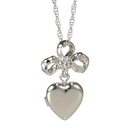Daughter's Heart Sterling Silver Bow & Locket Pendant