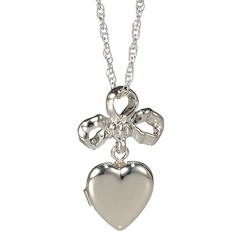 Mother's Heart Sterling Silver Bow & Locket Pendant