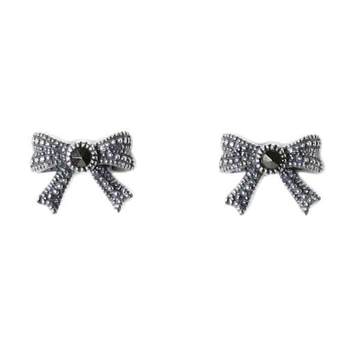 Marcasite Bow Stud Earrings