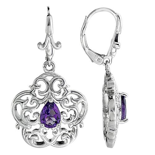 Sterling Silver Ellicott Clock Case Earrings with Amethyst