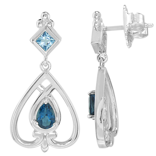 Sterling Silver Hennell Earrings with Blue Topaz