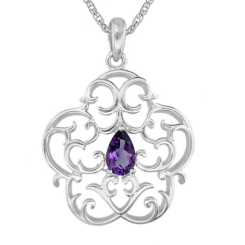 Sterling Silver Ellicott Clock Case Pendant with Amethyst