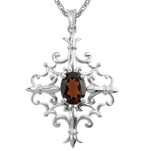 Sterling Silver Capitol Detail Pendant with Garnet