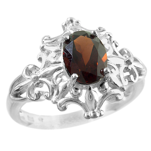 Sterling Silver Capitol Detail Ring with Garnet