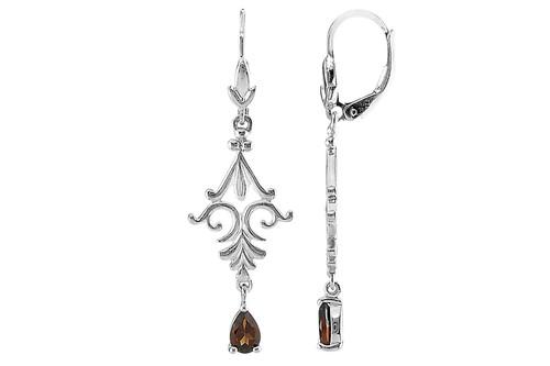 Garnet and Sterling Silver Dangle Pierced Earrings
