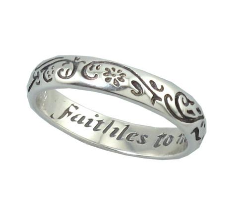 """Faithles to None"" Silver Ring"