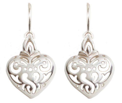Pierced Heart Sterling Silver Earrings