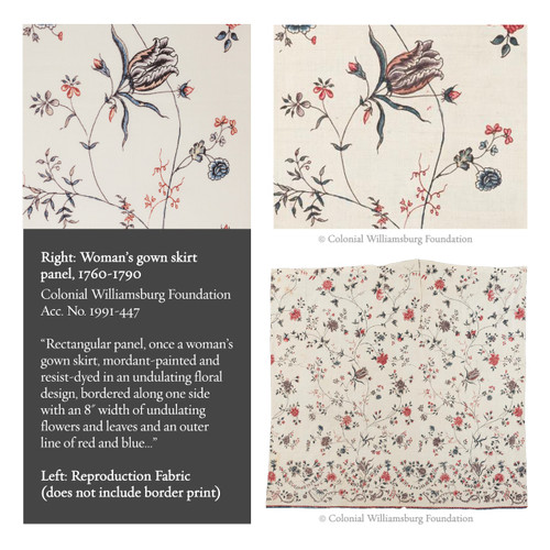 Colonial Williamsburg Reproduction Fabric - Fanny's India Floral 100% Cotton Fabric - Inspiration