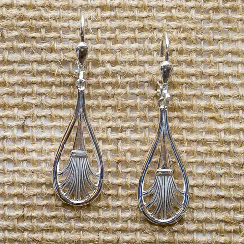 Pierced Fan Drop Earrings