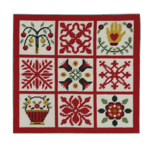 Red Quilt Squares Needlepoint Kit