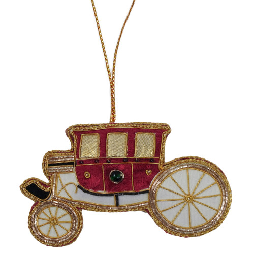 Maroon Carriage Fabric Ornament