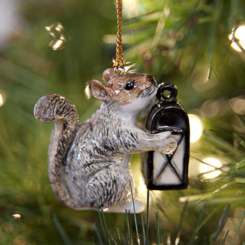 Squirrel with Lantern Ornament
