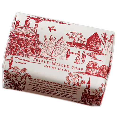 Peppermint Soap Bar Wrapped in Red Toile