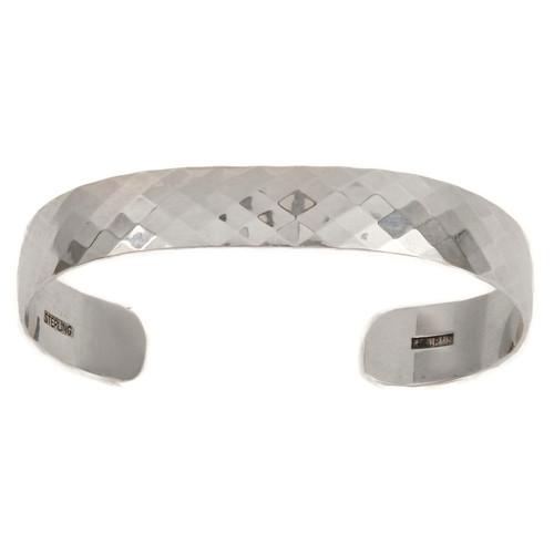 Sterling Silver Diamond Pattern Bracelet