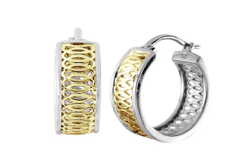Albemarle Hoop Sterling Silver and Gold Plate Earrings