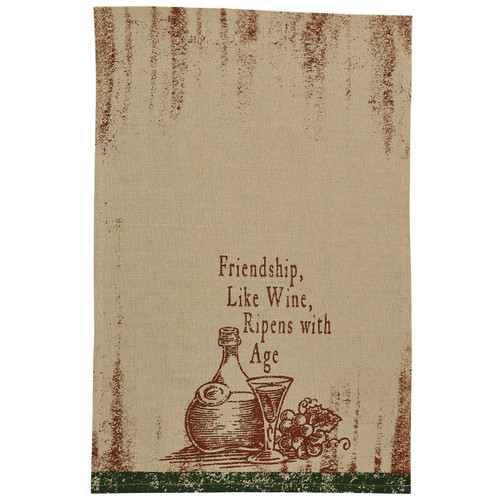 Friendship and Wine Dishtowel