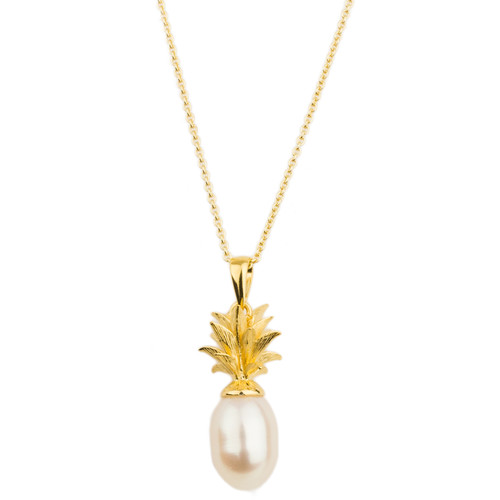 Pineapple and Cream Pearl Sterling Silver and Gold Plated Pendant