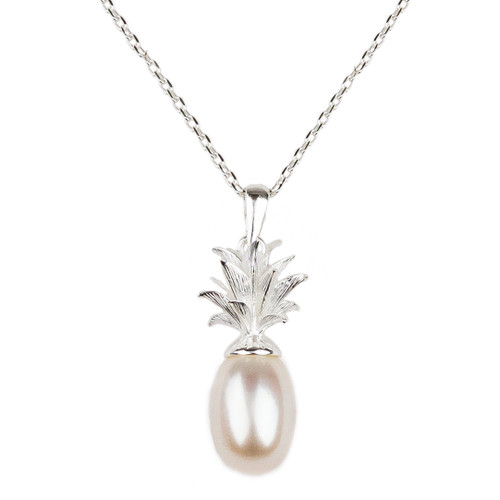 Pineapple and White Pearl Sterling Silver Pendant