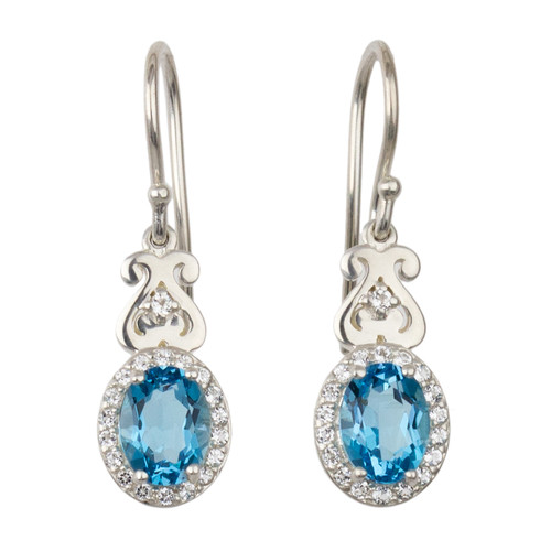 Abby Heart and Blue Topaz Drop Earrings