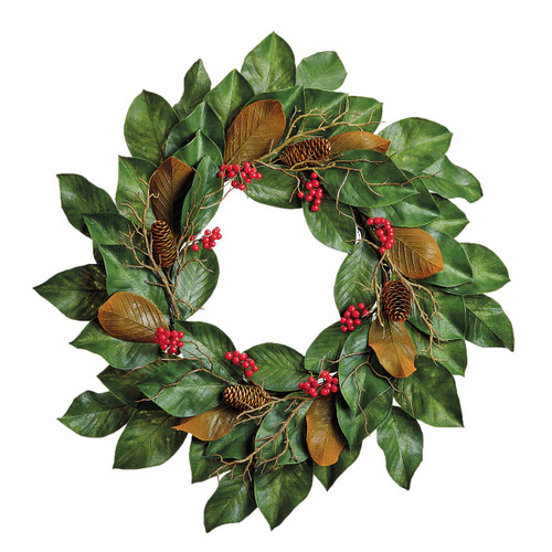Magnolia, Berry and Pine Outdoor Wreath