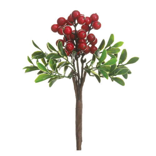 Red Berry and Boxwood Pick