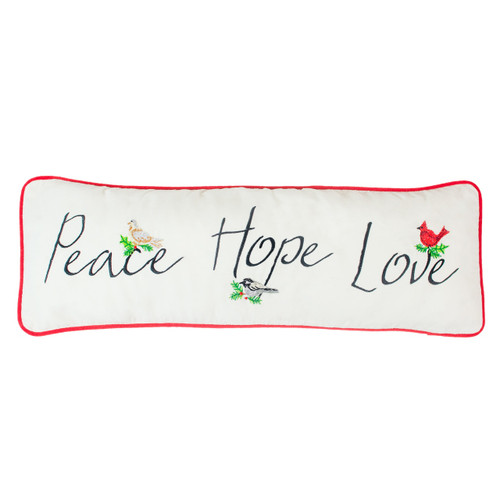 Embroidered Peace, Hope, Love Pillow