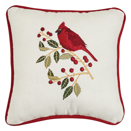 Holly and Cardinal Embroidered Pillow | The Shops at Colonial Williamsburg