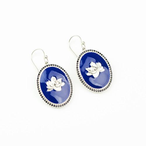 Navy Enamel Earrings