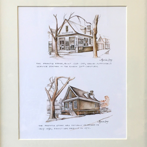 """""""The Prentis Store Then and Now"""" Black Framed Print   The Shops at Colonial Williamsburg"""