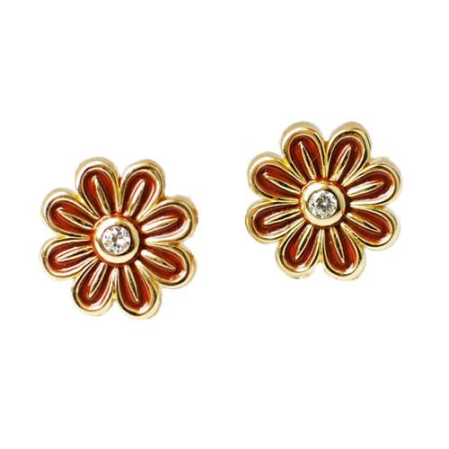 Burgundy Enamel Flower Stud Earrings